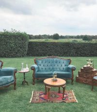 French teal seating area