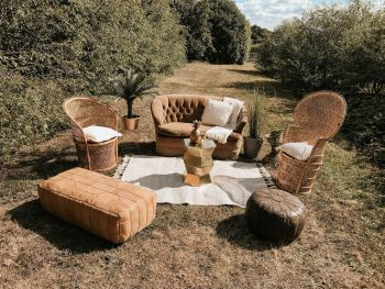 Boho seating area in field